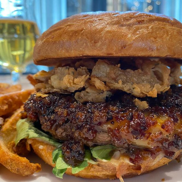 T-minus 45 minutes until our brand new Bison Burger hits the menu! This is one for the books, it's topped with white cheddar cheese, sweet onion bacon jam, garlic aioli, arugula and buttermilk fried crispy onions! Available for dine in, pick up or delivery through UberEats. Tag your burger buddies! • • • #newburger #bisonburger #colorasorestaurants #brewery #denverfoodie #rinodistrict #coloradofood #ubereats