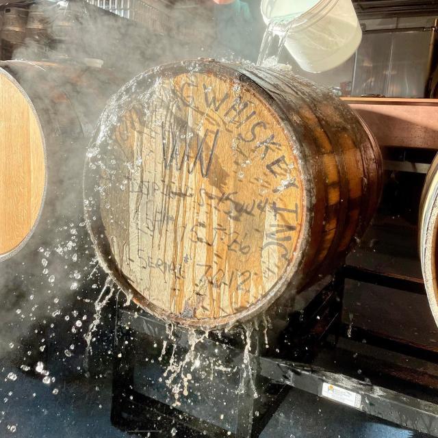 "Prepping the Wyoming Bourbon Whiskey barrels for a new batch of our favorite Barrel Aged Cherry Imperial Brown Ale aka ""CHIMP"". We are going to let this beer hibernate until 2022. Stay tuned for release updates.. 🍒  • • • #barrelagedbeer #beerstagram #cherrybeer #brownale #freshbatch #colorado #beer #denver #barrels #morningmist #hibernationmode"